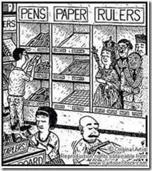pens, papers, rulers