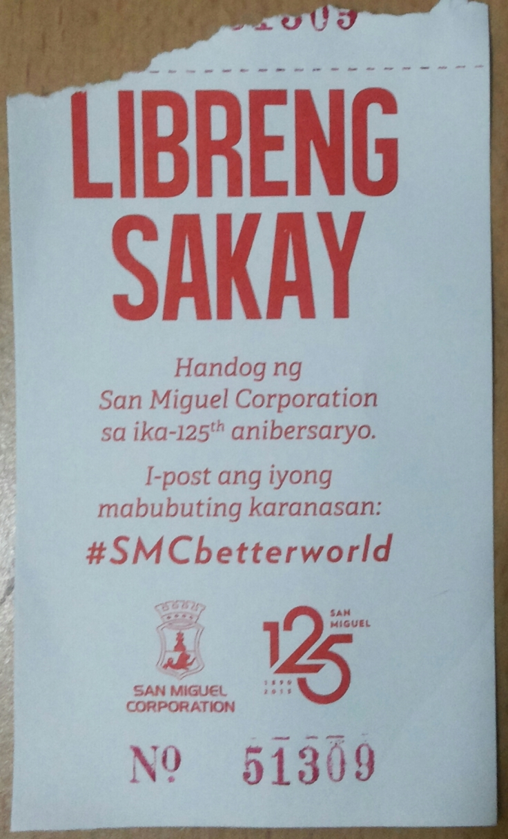 Libreng Sakay ticket courtesy of San Miguel Corporation